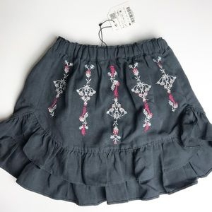 NWT Zara Girls Embroidered Skirt